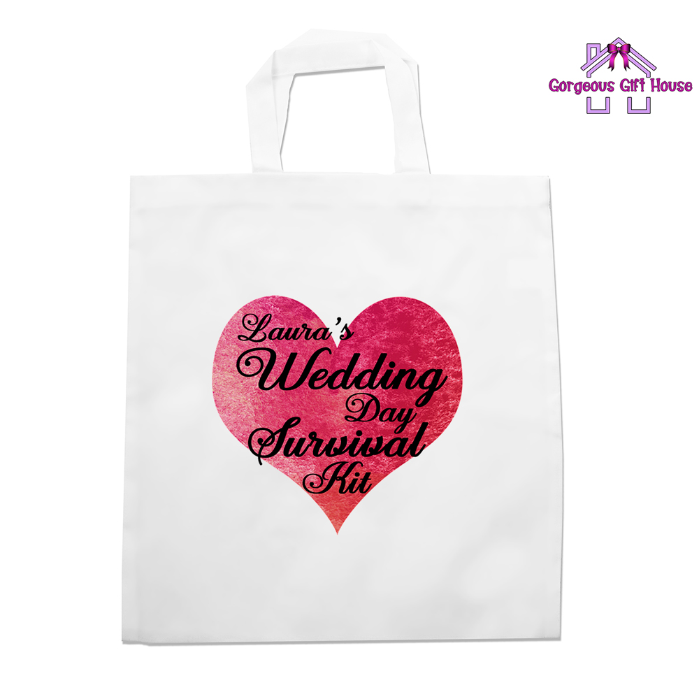 Wedding Day Survival Kit Tote Bag Hen Party Gift Gorgeous Gift House
