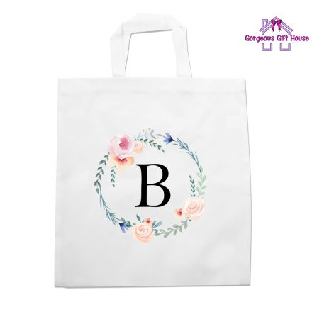 wreath initial tote bag