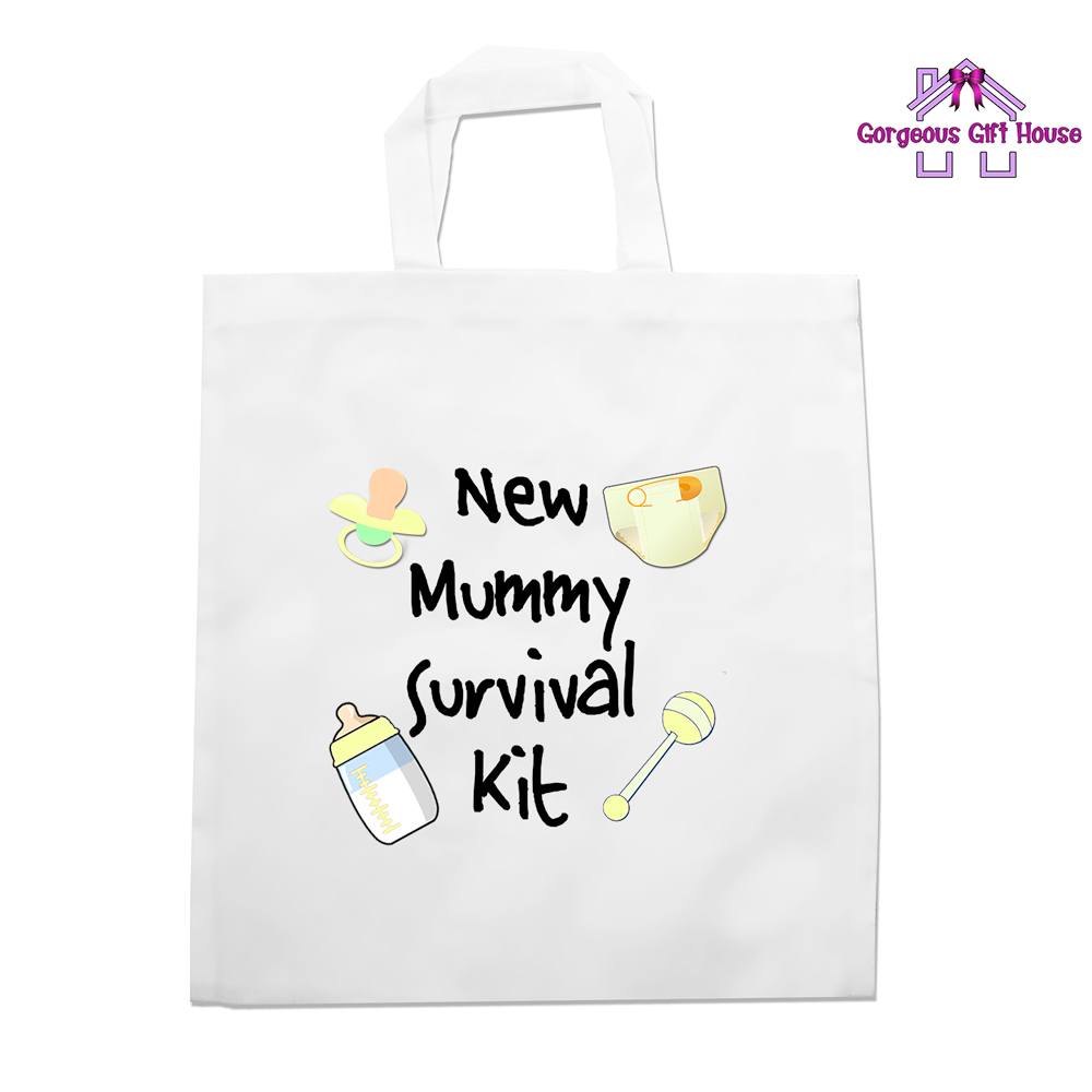 c2f6afc9f3 New Mummy Survival Kit Tote Bag - Baby Shower Gift - Gorgeous Gift House