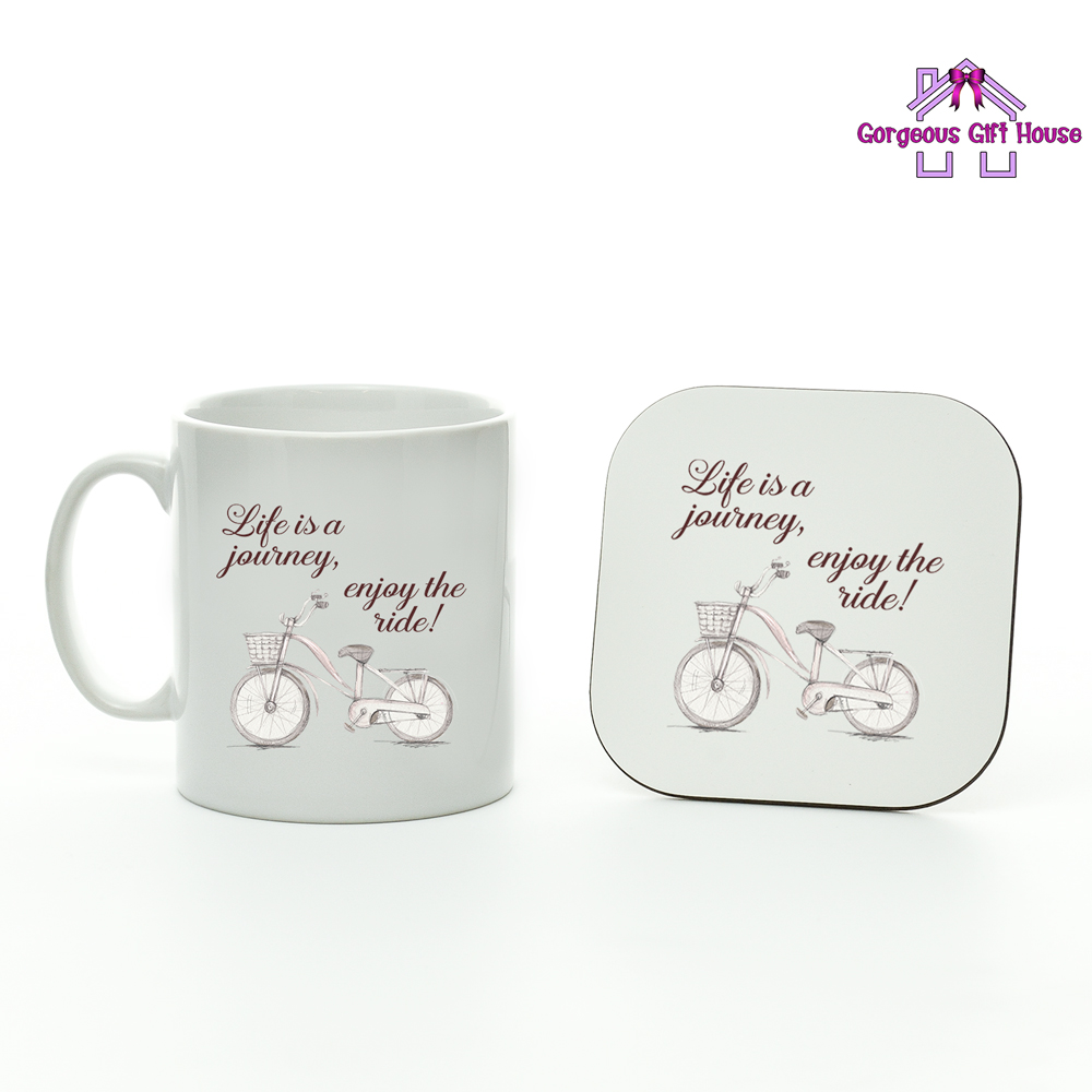 7a9afdb117d Life Is A Journey, Enjoy The Ride - Mug and Coaster Set