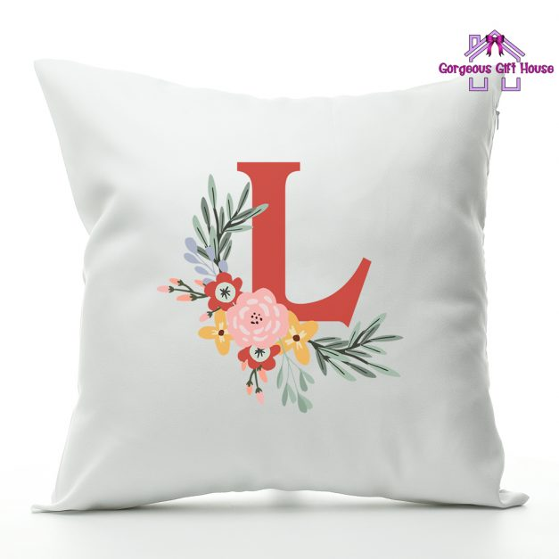 personalised initial flower cushion gift