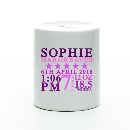 personalised new baby girl money box