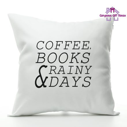 Coffee Books Rainy Days Cushion
