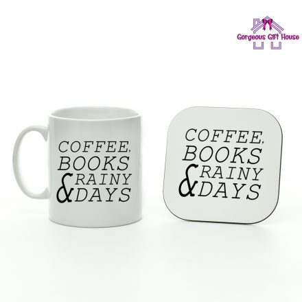 Coffee Books Rainy Days Mug and Coaster Set
