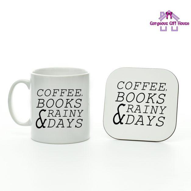 Coffee Books Rainy Days Mug and Coaster Set