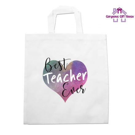 best teacher ever heart tote bag