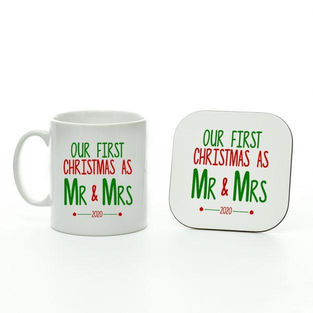Our First Christmas As Mr & Mrs 2020 Mug And Coaster
