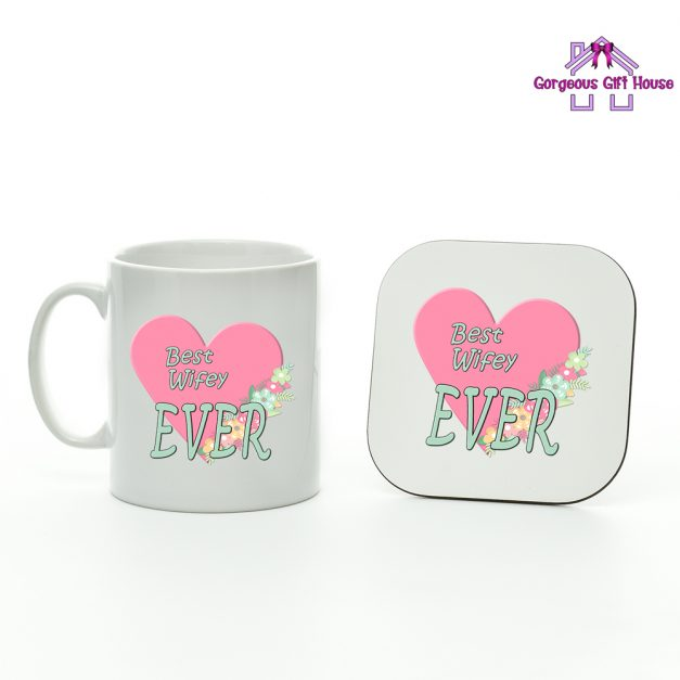 gifts for her - best wifey ever mug and coaster set