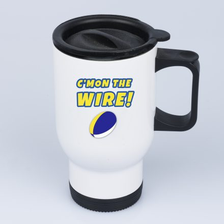 c'mon the wire travel mug