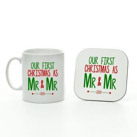 our first christmas as mr and mr mug and coaster set