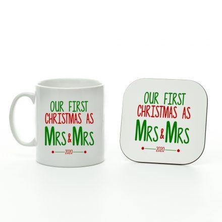 Our First Christmas As Mrs & Mrs 2020 Mug and Coaster