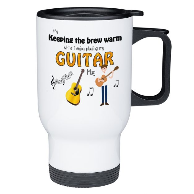 keep my brew warm playing guitar travel mug