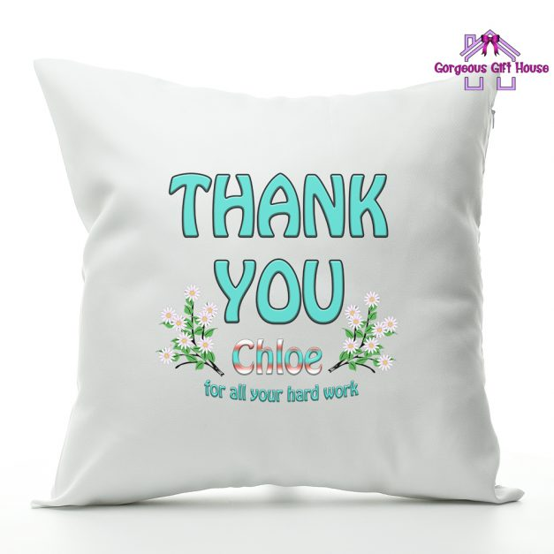 thank you personalised cushion