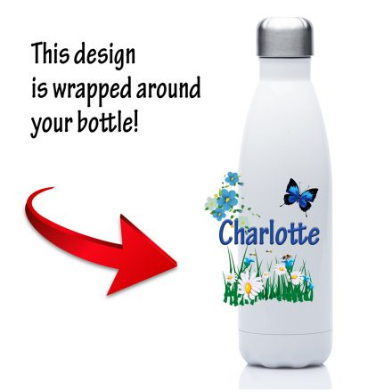 personalised water bottle butterly and flowers